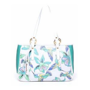 Женская итальянская сумка Braccialini B8744 белого цвета с принтом в виде птиц