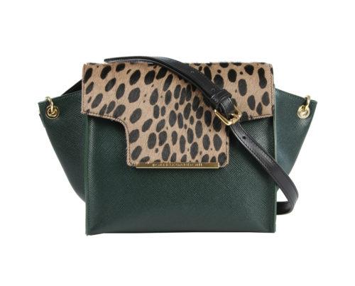 Итальянская сумка Roberta Gandolfi зеленая кожа, шерсть пони