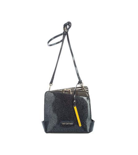 Итальянская лаковая сумка Cromia 1403002 темно-серого цвета